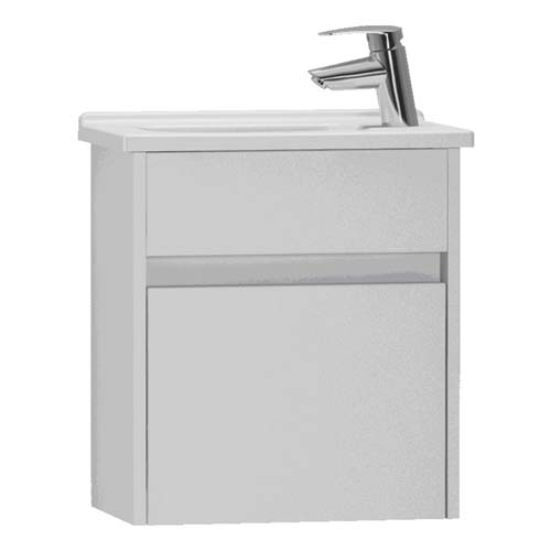 click on 45cm Compact Single Door Vanity Unit and Basin image to enlarge