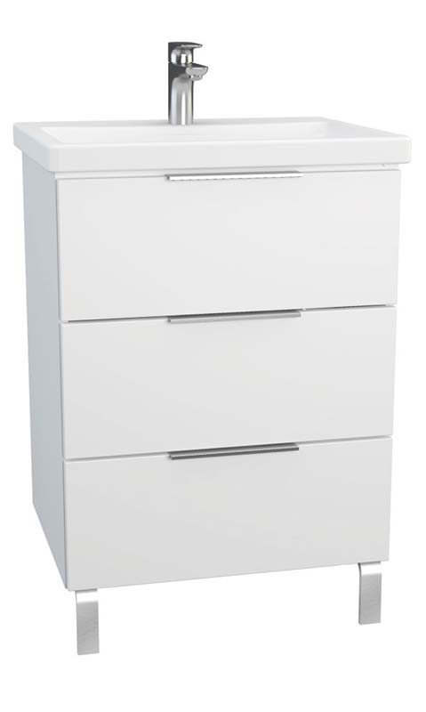 click on 60cm 3 Drawer Washbasin Unit with legs image to enlarge