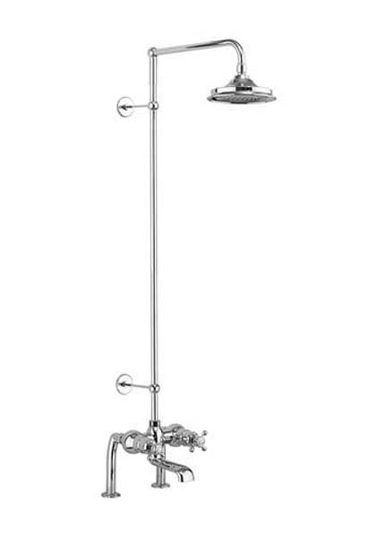 click on Tay Deck Mounted Bath Shower Mixer with Rigid Riser Rail and Fixed Head image to enlarge