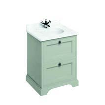 click on 65cm Vanity Unit with Two Drawers and Worktop image to enlarge