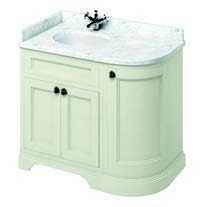 click on 100cm Curved Vanity Unit with Doors and Worktop - Left Hand image to enlarge