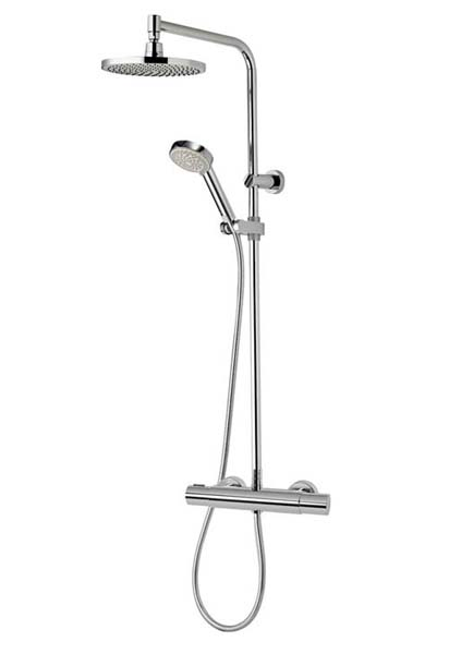 click on Midas 110 Thermostatic Bar Valve with Fixed Head & Slide Rail Kit image to enlarge