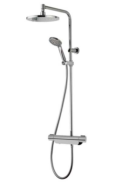 click on Midas 220 Thermostatic Bar Valve with Fixed Head & Slide Rail Kit image to enlarge