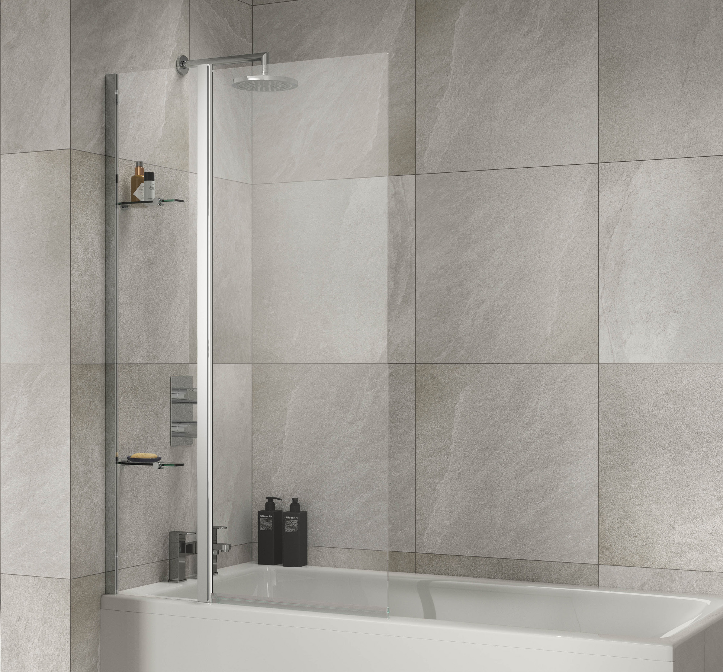 click on Extended Square Bath Screen with Fixed Panel image to enlarge