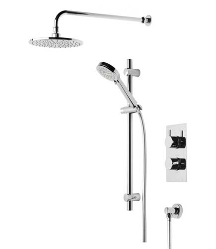 click on Concealed Thermostatic Two Outlet Shower with Fixed Head, Slide Rail and Handset image to enlarge