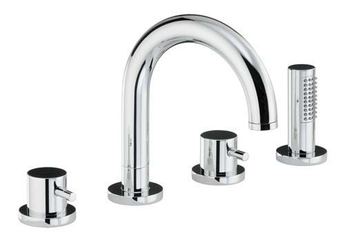 click on Thermostatic Deck Mounted 4 Hole Bath Shower Mixer image to enlarge