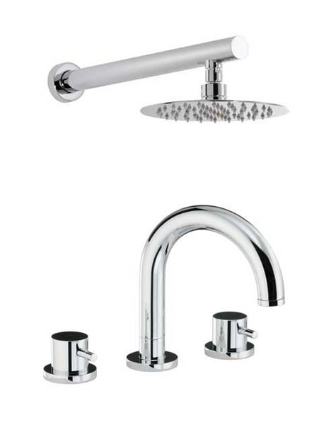 click on Thermostatic Deck Mounted 3TH Bath Mixer and Wall Mounted Shower image to enlarge