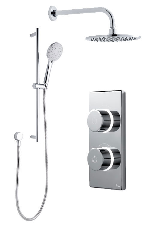 click on Digital Shower with Wall Mounted Round Fixed Head & Slide Rail Kit image to enlarge