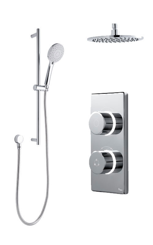 click on Digital Shower with Ceiling Mounted Round Fixed Head & Slide Rail Kit image to enlarge