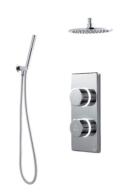 click on Digital Shower with Ceiling Mounted Round Fixed Head, Handspray & Holder image to enlarge