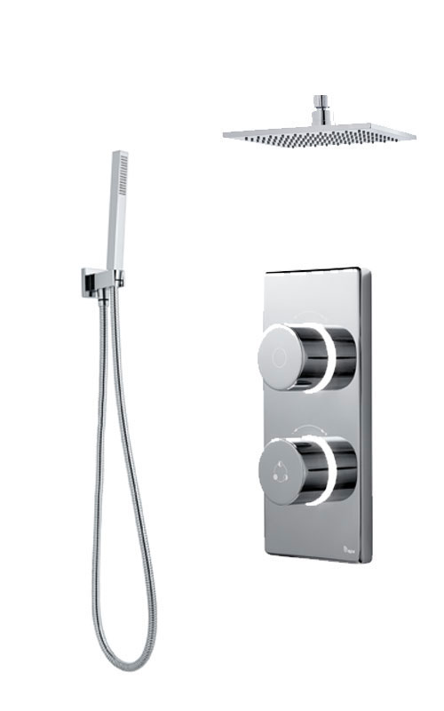 click on Digital Shower with Ceiling Mounted Square Fixed Head, Handspray & Holder image to enlarge