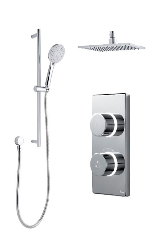 click on Digital Shower with Ceiling Mounted Square Fixed Head & Slide Rail Kit image to enlarge