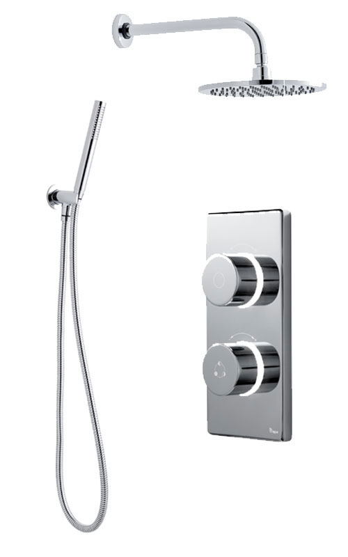 click on Digital Shower with Wall Mounted Round Fixed Head, Handspray & Holder image to enlarge