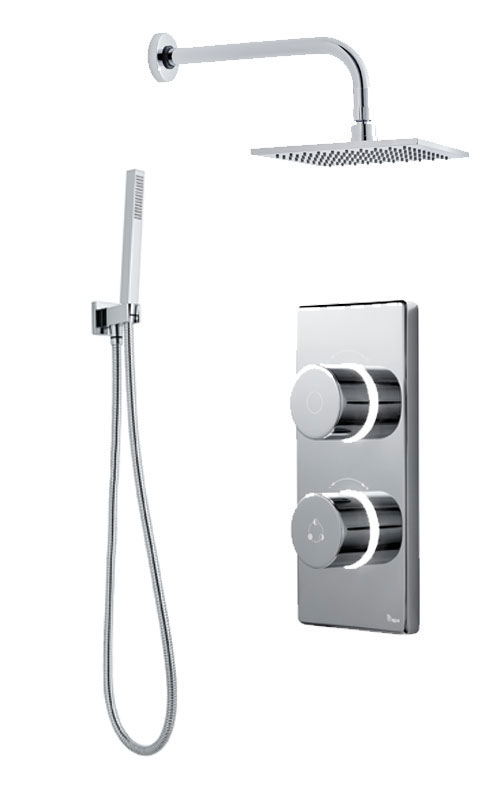 click on Digital Shower with Wall Mounted Square Fixed Head, Handspray & Holder image to enlarge