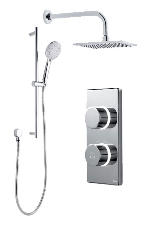 click on Digital Shower with Wall Mounted Square Fixed Head & Slide Rail Kit image to enlarge