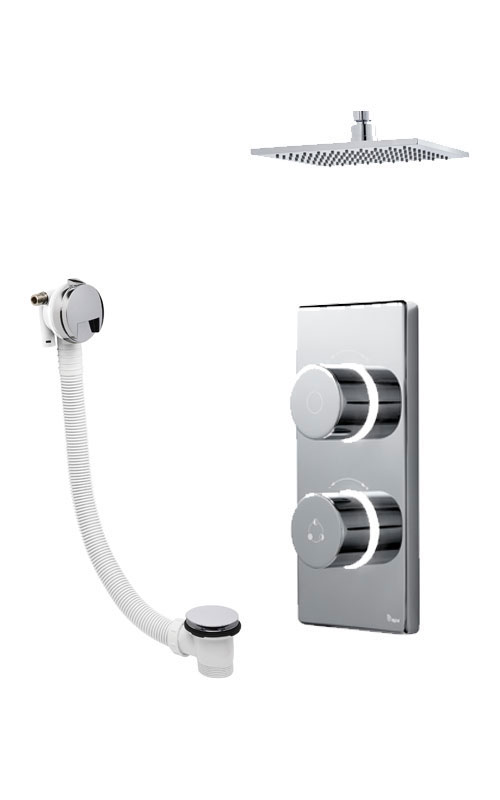 click on Digital Bath/Shower with Ceiling Mounted Square Fixed Head & Overflow Bath Filler image to enlarge