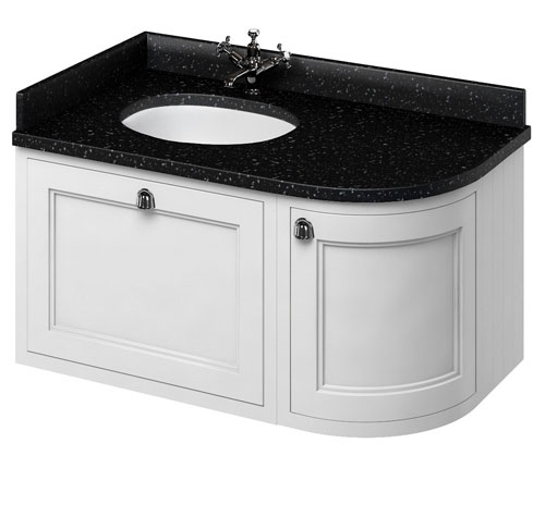 click on 100cm Curved Vanity Unit with Worktop - Left Hand image to enlarge
